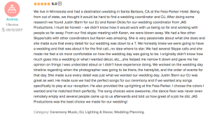 JAS Productions Fess Parker Wedding Dj Review