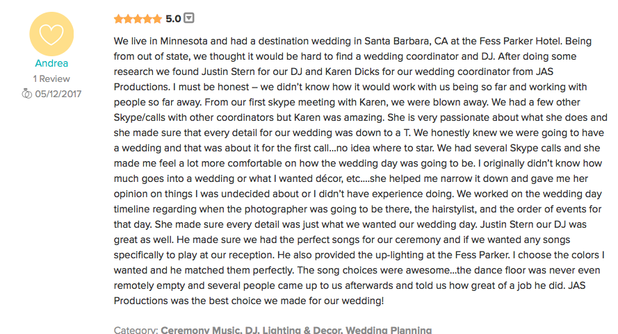Mike and Andrea's Review of JAS Productions Wedding DJ in Santa Barbara-- Fess Parker